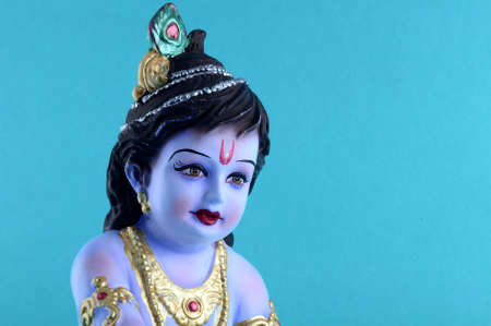 Hindu God Krishna on blue background