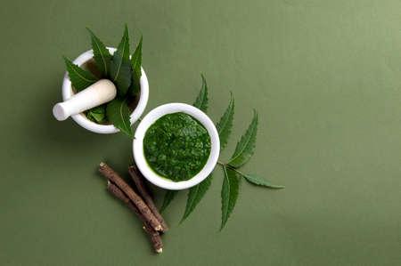 Foglie medicinali di Neem in mortaio e pestello con pasta e ramoscelli su sfondo verde green