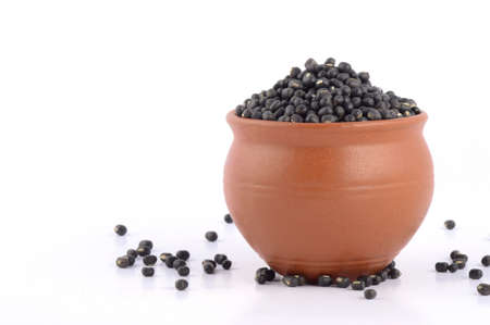 Urad dal, black gram, Vigna mungo in clay pot on white background
