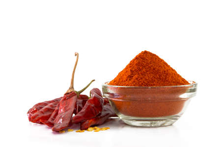 Dried red chilli and powder Banque d'images