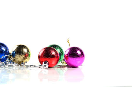 Christmas balls with ornaments on white background. Stock Photo