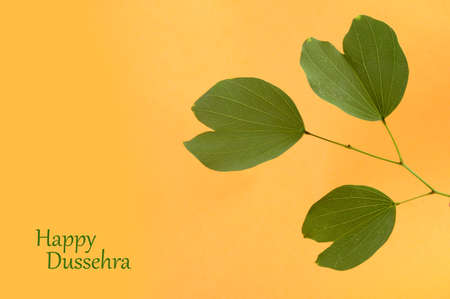 Indian Festival Dussehra, showing golden leaf . Greeting card. Stock Photo