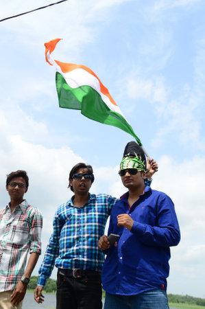 NAGPUR, MAHARASHTRA, INDIA, AUGUST - 15 : Unidentified people celebrating Independence Day at Futala lake in Nagpur on 15 August 2014