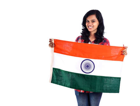 Girl with Indian flag or tricolor on white background, Indian Independence day, Indian Republic day