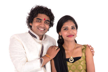 Indian brother and sister enjoying and celebrating Raksha Bandhan festival Stock Photo