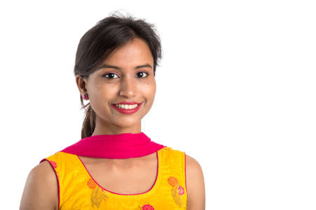 Portrait of beautiful young smiling girl on a white background.