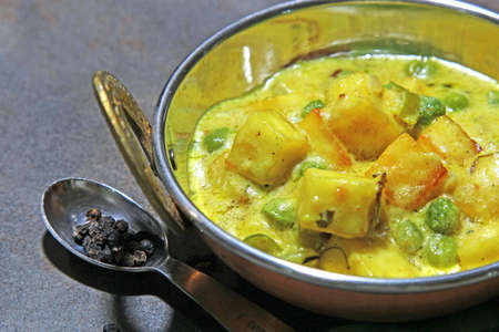 methi: Paneer cheese and green peas cooked in a Creamy sauce, an Indian curry goes well with chapati and rice.