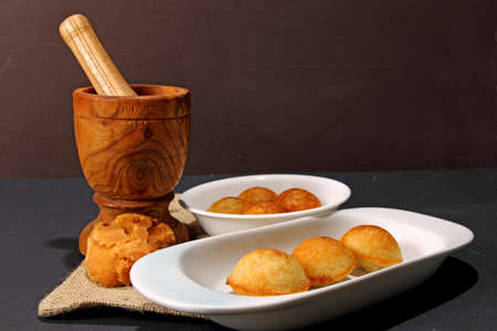 Sweet Paniyaram, a South Indian sweet made with lentils and rice batter with jaggery and coconut