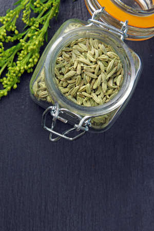 fennel seeds: Fennel seeds in a jar on a grey moody background with copy space, selective focus. Stock Photo