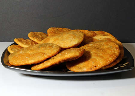 Kacahuri, an Indian bread stuffed with lentils and spices.