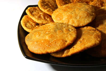 black gram: Kacahuri or stuffed poori, an Indian bread stuffed with lentils and spices with copyspace