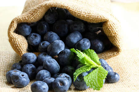 Blueberries with mint leaves in a burlap bag with copy space, selective focus