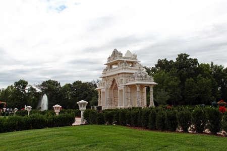 Swami Narayan Hindu Temple in Chicago, Illinois, selective focus.