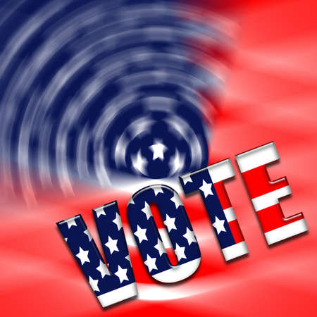 A USA flag illustration with text Vote at one end.