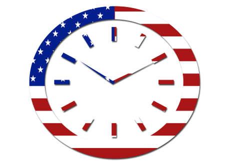 solid background: US flag clock symbol logo on a solid background