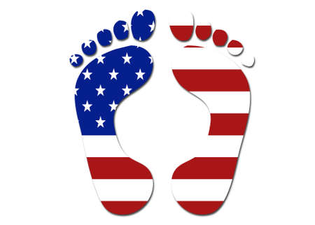 foot print: US flag foot print symbol logo on a solid background Stock Photo