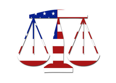 balances: US flag weights and balances symbol logo on a solid background Stock Photo