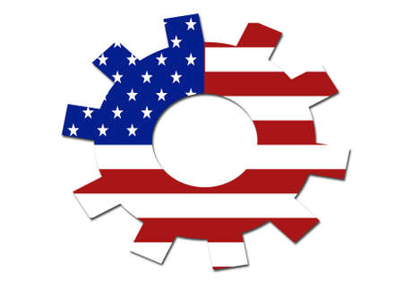 solid background: US flag gear symbol logo on a solid background