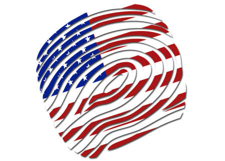 US flag thumb print symbol  on a solid background