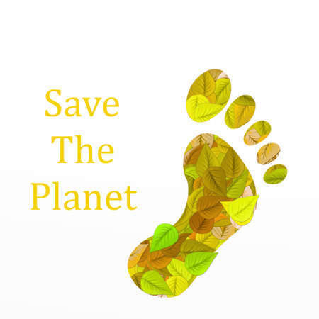 filled: Foot filled with leaves with text Save the planet