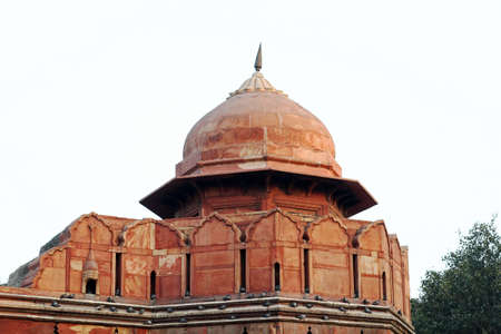 mughal empire: The dome of Red Fort with pigeons sitting on it.
