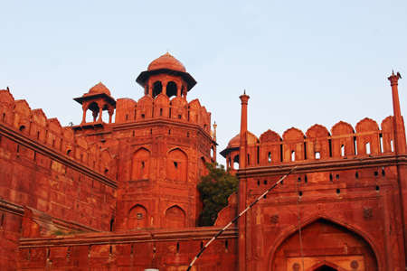 mughal empire: The wall of Red Fort, Delhi India Stock Photo