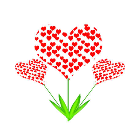 A red heart on white background with copy space