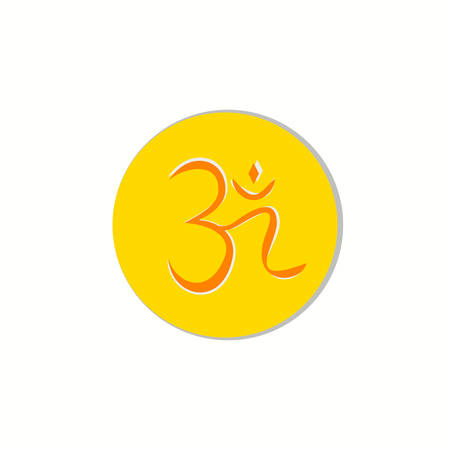 aum: Aum , a Hindu religious symbol symbolizing the sound of the universe Illustration