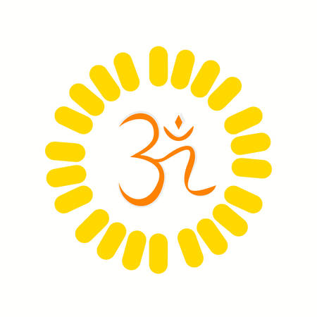 mantra: Aum , a Hindu religious symbol symbolizing the sound of the universe Illustration
