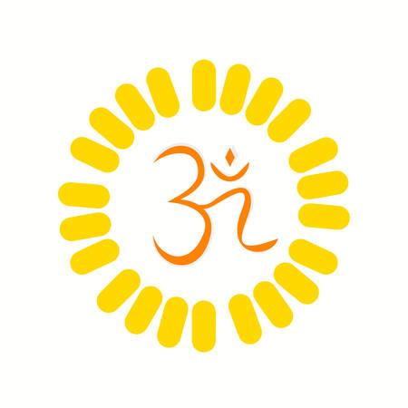 Aum , a Hindu religious symbol symbolizing the sound of the universe 向量圖像
