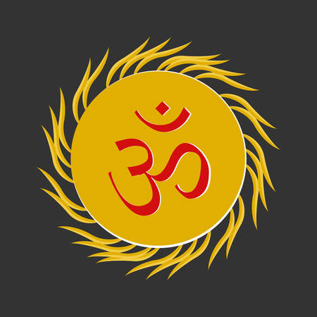 Aum , a Hindu religious symbol symbolizing the sound of the universe Illustration