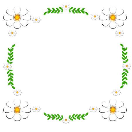 White Daisies on a white background as frame 向量圖像