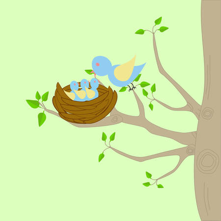 A Tree With Bird Nest Mother Perching On Branch