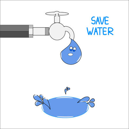 trickle: A tap with a water drop with  a puddle of water. Save water concept vector.