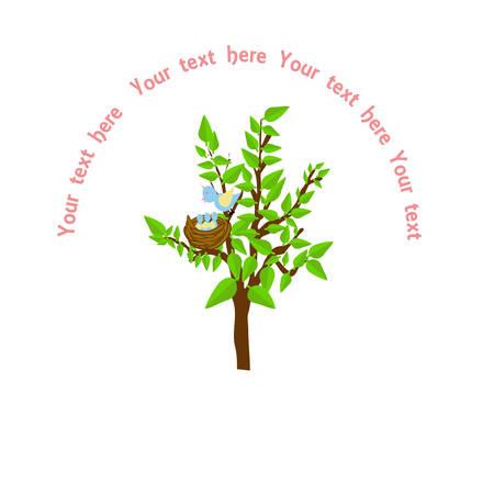 A tree with a nest with baby birds Ilustração