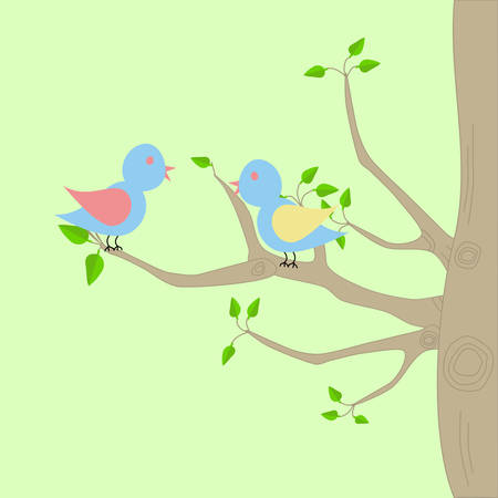 Two birds sitting on a tree with branches.