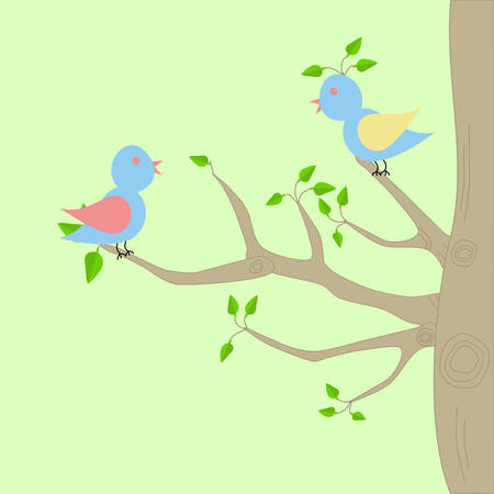 Two birds sitting on the branches of a tree