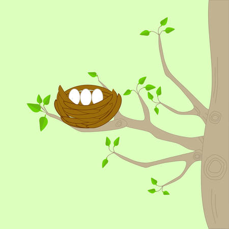 A bird nest on a tree with branches and green leaves Illustration