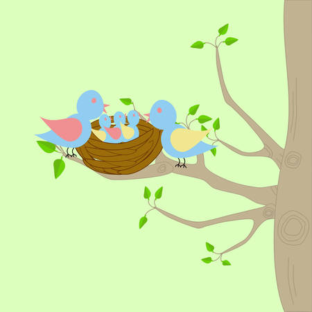 A bird family sitting on the branches of a tree