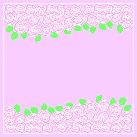 Pink roses background on white with copy space