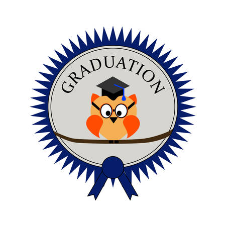 Graduation with an owl and on an award seal and text Graduation