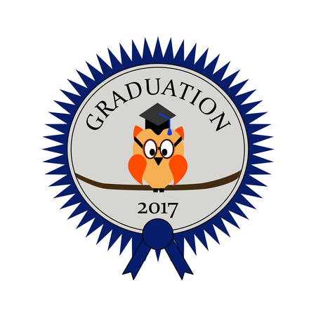 Graduation with an owl and on an award seal and text Graduation 2017