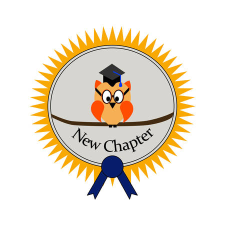 Graduation with an owl and on an award seal an text new chapter Illusztráció
