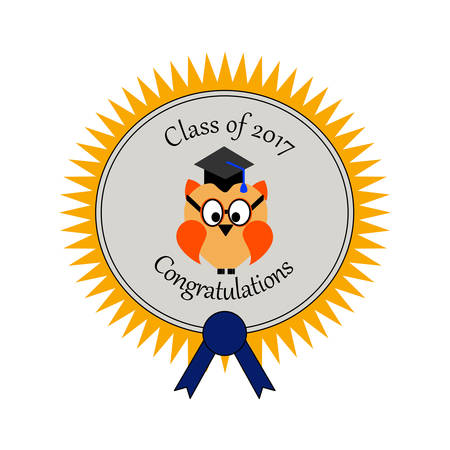 Graduation with an owl and on an award seal an text Class of  2017 Congratulations!
