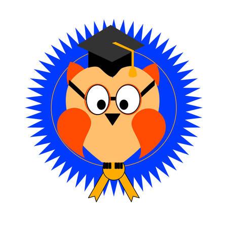 An owl on an awards seal for Graduation