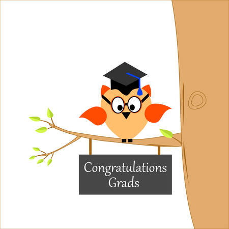 An owl on a branch of a tree with a graduation cap and text
