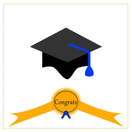 A graduation cap with a ribbon isolated on white