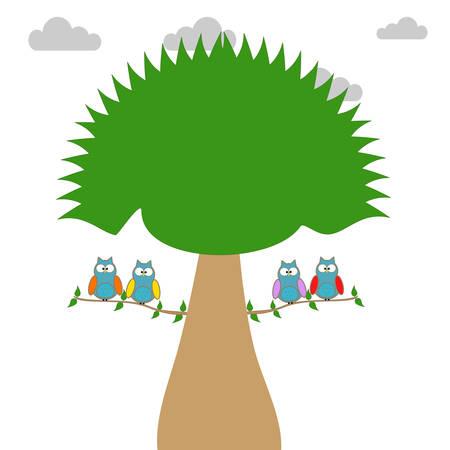 Búhos en una rama de un árbol Foto de archivo - 78267617
