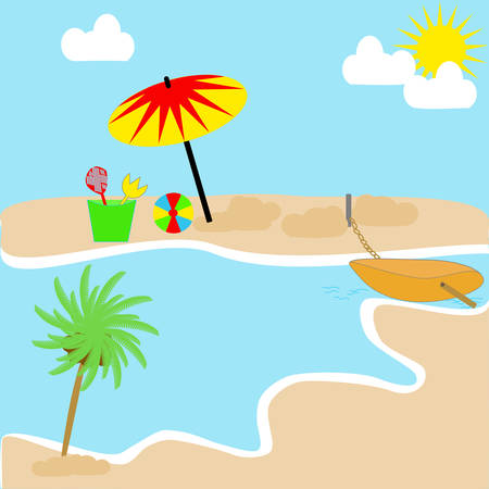 A scenic landscape with a beach, ocean, sky, clouds, boat, Umbrella and beach toys