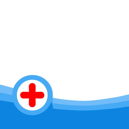 doctor tablet: Red medical cross on a blue and white background Illustration